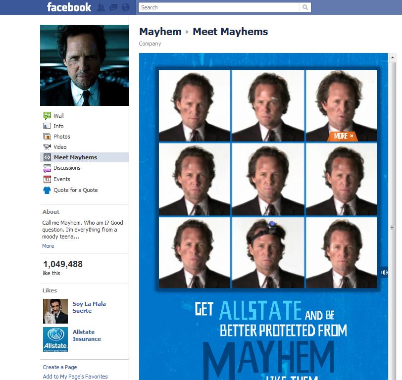 Ad Post Allstate Mayhem Facebook Page Amy In Wonderland